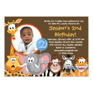 Zoo Animals - Wild Animals Birthday Invitation