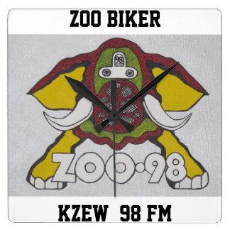 ZOO BIKER   KZEW  98 FM SQUARE WALL CLOCK