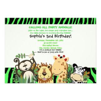 ZOO CREW 5x7 Trendy Zebra Stripe Jungle Party Custom Invites