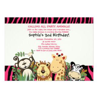 ZOO CREW 5x7 Trendy Zebra Stripe Jungle Party Announcement