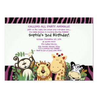 ZOO CREW 5x7 Trendy Zebra Stripe Jungle Party 5x7 Paper Invitation Card