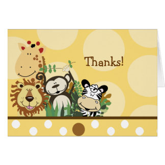 ZOO CREW Animals (Yellow) Folded thank you note Stationery Note Card