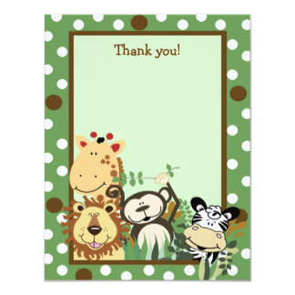 ZOO CREW GREEN Animals Flat Thank you note Card