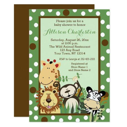 Zoo Crew Jungle Animal Baby Shower Invitations