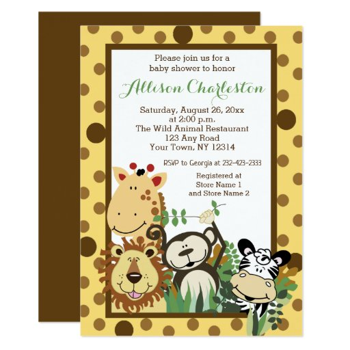 Zoo Crew Jungle Animal Baby Shower Invitations