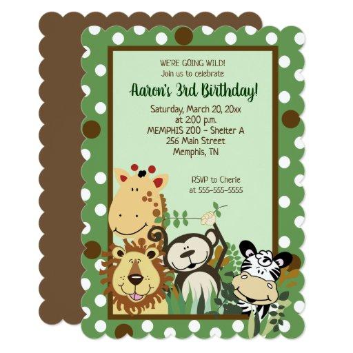 Zoo Crew Jungle Animal Birthday Invitation Die Cut