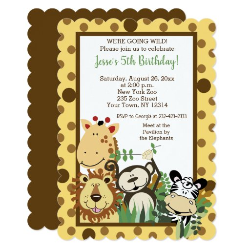 Zoo Crew Jungle Animal Birthday Invitations