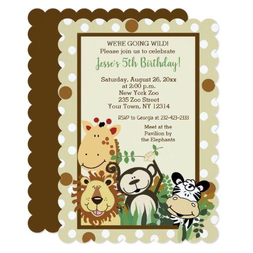 Zoo Crew Jungle Animal Birthday Invitations