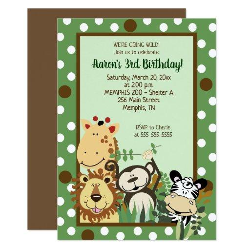 Zoo Crew Jungle Animals Birthday Invitation