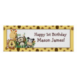 Zoo Crew Jungle Personalized Birthday Banner Poster