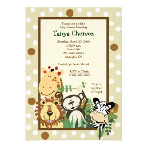 ZOO CREW Jungle Safari Baby Shower 5x7 Personalized Invites