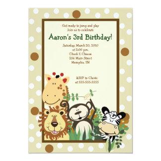 """ZOO CREW Jungle Safari BIRTHDAY INVITE 5x7 5"""" X 7"""" Invitation Card"""