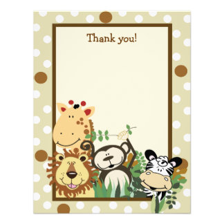 ZOO CREW Tan Animals Flat Thank you note Invitations