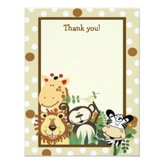 ZOO CREW Tan Animals Flat Thank you note 4.25x5.5 Paper Invitation Card