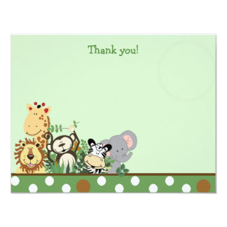 ZOO CREW with Elephant Flat Thank you note 4.25x5.5 Paper Invitation Card