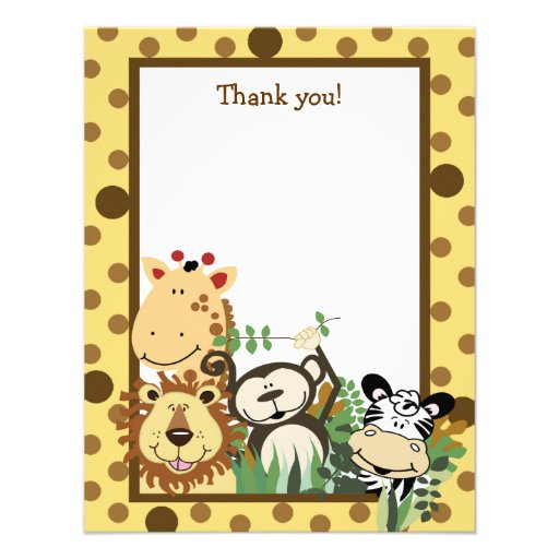 ZOO CREW Yellow Animals Flat Thank you note Personalized Invitations