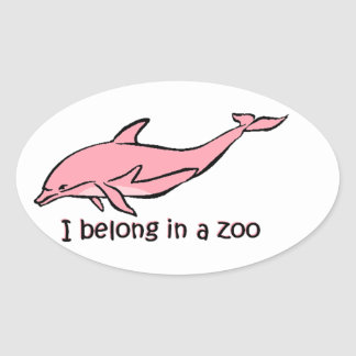 Zoo Dolphin Oval Sticker