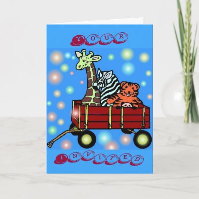 Zoo Friends birthday invitation card with matching post