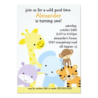 Zoo Fun Birthday Party Card