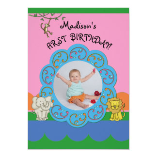Zoo Funnies Girl First Birthday Photo Personalized Invitations