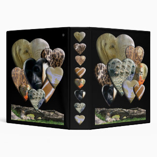 Zoo Heart Collage 3 Ring Binder