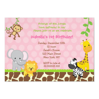 Zoo Jungle Safari Birthday Party Invitations Girl