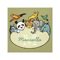 zoo monogram jungle animals canvas print