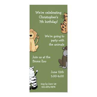 Zoo Pals Invitaion 4x9.25 Paper Invitation Card