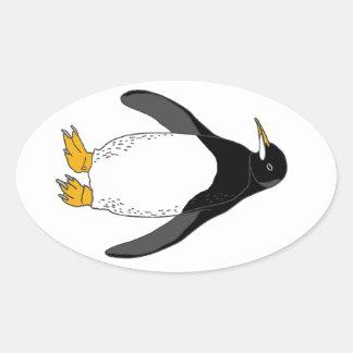 Zoo Penguin Oval Sticker