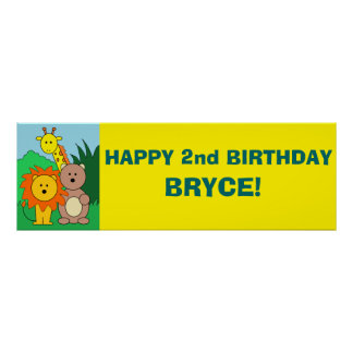 """""""Zoo"""" Personalized 36""""x12"""" Paper Birthday Banner Print"""