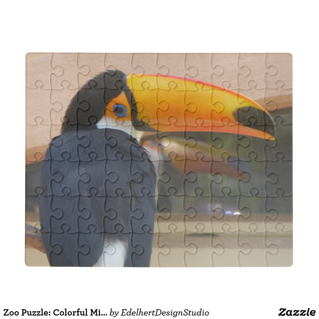 Zoo Puzzle: Colorful Mirrored Toucan Face Jigsaw Puzzle