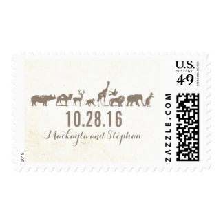zoo - safari - animals wedding postage stamps