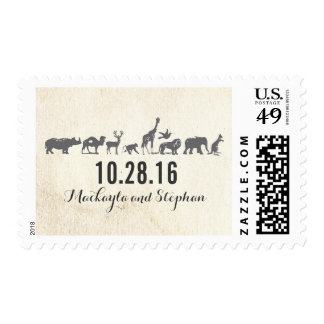 zoo - safari - animals wedding postage stamps