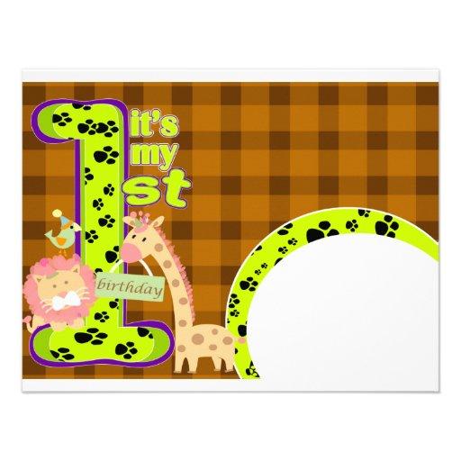 "Zoo Theme 1st Birthday Invitation Card 4.25"" X 5.5"