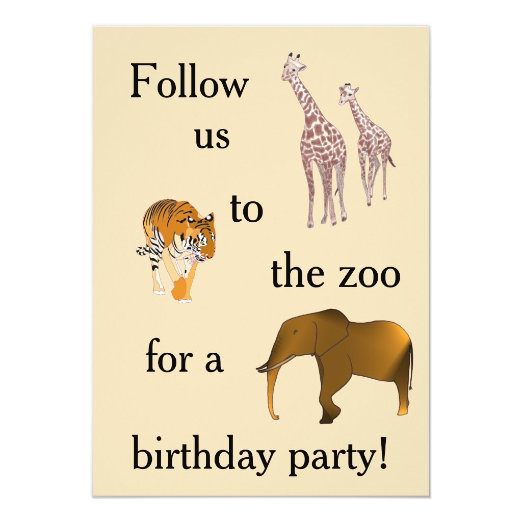Zoo Themed Birthday Party Invitations