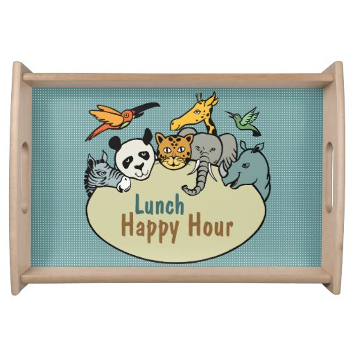 zoo-themed lunch happy hour service trays