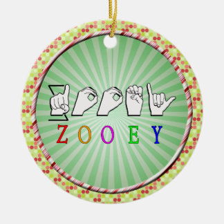 ZOOEY FINGERSPELLED ASL NAME SIGN CERAMIC ORNAMENT