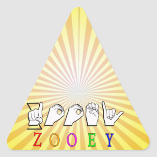 ZOOEY FINGERSPELLED ASL NAME SIGN TRIANGLE STICKER
