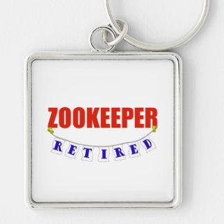 Zookeeper jubilado llavero cuadrado plateado