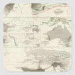Zoological geography square sticker