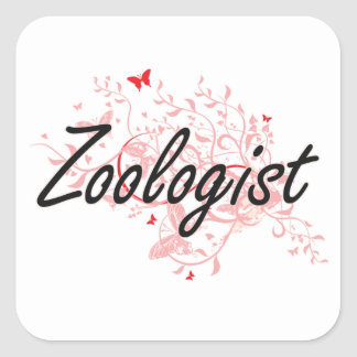 Zoologist Artistic Job Design with Butterflies Square Sticker