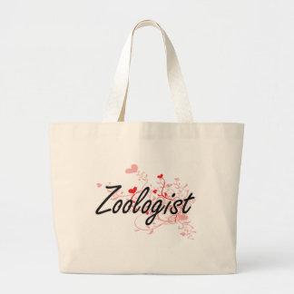 Zoologist Artistic Job Design with Hearts Jumbo Tote Bag