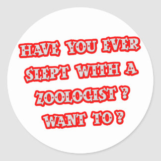 Zoologist Pick-Up Line Classic Round Sticker