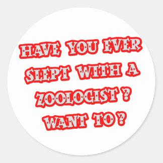 Zoologist Pick-Up Line Classic Round Sticker