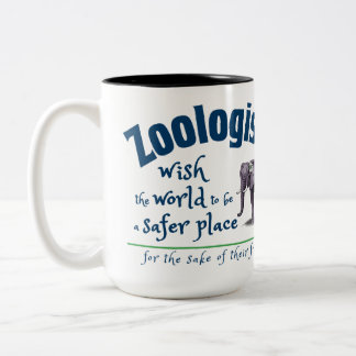 Zoologists wish the world to be a safer place Two-Tone coffee mug