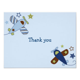 Zoom Along Airplane Aviator Thank You Note Cards Personalized Announcement