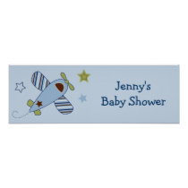 Zoom Along AIrplane Baby Shower Banner Sign