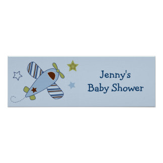 Zoom Along AIrplane Baby Shower Banner Sign Print