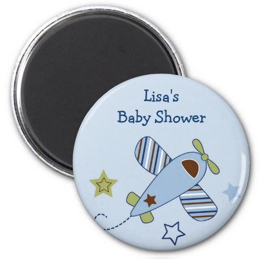 Zoom Along Airplane Baby Shower Favor Magnets