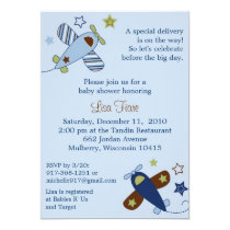 Zoom Along Airplane Baby Shower Invitations